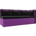 Кухонный угловой диван Мебелико Метро микровельвет черно-фиолетовый угол правый