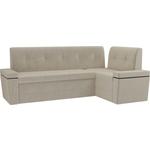Кухонный угловой диван Мебелико Деметра микровельвет (бежевый правый угол