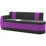 Кухонный диван Мебелико Токио ОД микровельвет черно-фиолетовый левый