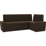 Кухонный угловой диван Мебелико Деметра микровельвет (коричневый) правый угол