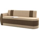 Кухонный диван Мебелико Токио ОД микровельвет бежево-коричневый левый