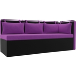 Кухонный угловой диван Мебелико Метро микровельвет фиолетово-черный угол правый