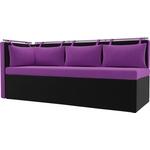 Кухонный угловой диван Мебелико Метро микровельвет фиолетово-черный угол левый