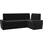 Кухонный угловой диван Мебелико Деметра микровельвет (черный) правый угол