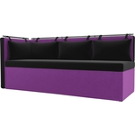 Кухонный угловой диван Мебелико Метро микровельвет черно-фиолетовый угол левый
