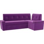 Кухонный угловой диван Мебелико Деметра микровельвет (фиолетовый) правый угол