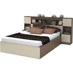 Кровать с прикроватным блоком Ника Бася КР-552 шимо темный/шимо светлый