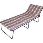 Кровать раскладная Ольса Надин мягкая лист 50 мм каркас черный/ткань разноцветная полоска С649