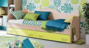 Кровать-диван Римини 80х190 Ясень шимо светлый/Лайм