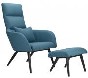 Кресло с подставкой для ног и подушкой Berg Bridjet, серо-голубое