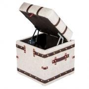 PUFF Пуфик Сундучок 4629 белая ткань рогожка с коричневой простёжкой 370х400х370