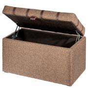 PUFF Банкетка Сундучок 4631 коричневая ткань рогожка 700х420х370