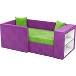 Детский диван Мебелико Орнелла микровельвет зелено-фиолетовый левый угол