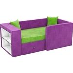 Детский диван Мебелико Орнелла микровельвет зелено-фиолетовый правый угол