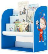 Стеллаж детский книжный Polini kids Fun 800 Маша и Медведь с текстильными полками, синий