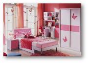 Спальня Piccola со шкафом-купе МиК розовый, белый