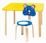 Комплект детской мебели Мордочки с желтым столиком (Цвет столешницы:Желтый, Цвет сиденья и спинки стула:Голубой)