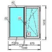 Деревянное окно из сосны со стеклопакетом 1340х1410 мм