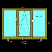 Деревянное окно (Стандарт) из сосны со стеклопакетом 2080х1420 мм