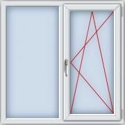 Пластиковое окно ПВХ REHAU BLITZ 1300х1300 мм, двухстворчатое, глухое левое поворотно-откидное правое, однокамерный стеклопакет, белое