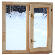 Деревянное окно со стеклопакетом Эконом 1000х1000 мм