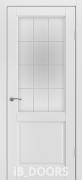 Дверь Bergen массив сосны дублированный МДФ белый жемчуг со стеклом