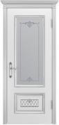 Межкомнатная дверь Аккорд В3 Цвет:эмаль белая с патиной серебро Тип:со стеклом