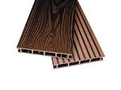 Террасная доска двухсторонний Комфорт крупный вельвет с брашингом/текстура дерева шоколад25х145х6000 мм (0.87 кв.м.)