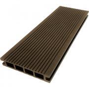 Террасная доска ДПК М-пласт 140х28 мм Вельвет односторонняя Шоколад