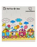 Мягкая самоклеящаяся панель для стен LAKO DECOR, 70*77 см. (3d панель для стен), коллекция Детская комната, цвет Веселый поезд