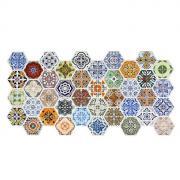 Листовая панель ПВХ, Граненый шестигранник Пэчворк, 973*492 мм, 5 шт