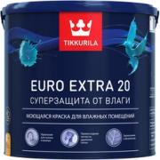 Краска tikkurila euro extra 20 моющаяся для влажных помещений, база a 9л 700001107