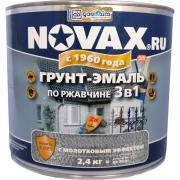 Грунт-эмаль по ржавчине с молотковым эффектом goodhim novax серебристый, 2.4 кг 39214