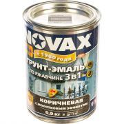 Грунт-эмаль по ржавчине с молотковым эффектом goodhim novax коричневый, 0.9 кг 39153