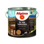 Лессирующий состав Alpina Oel fuer Terrassen Mittel, Масло для террас и садовой мебели, средний тон, 2,5 л