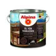 Лессирующий состав Alpina Oel fuer Terrassen Dunkel, Масло для террас и садовой мебели, темный тон, 2,5 л