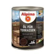 Лессирующий состав Alpina Oel fuer Terrassen Dunkel, Масло для террас и садовой мебели, темный тон, 0,75 л