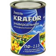 Универсальная эмаль krafor пф-115 черная 0.8 кг 14 25965