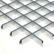 "Грильято 100х100мм элемент решётки ""папа"" L=600мм, h=40мм, алюминий/металлик серебристый (0,32мм)"