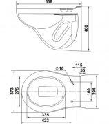 Унитаз подвесной KERAMIN ГРАНД R безободковый с сиденьем дюропласт