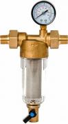 Магистральный фильтр грязевой Гейзер Бастион 112 1/2 манометр, для хол. воды d60