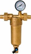 Магистральный фильтр грязевой Гейзер Бастион 122 1/2 манометр, для гор. воды d60
