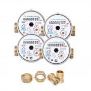 Счетчики воды универсальные ЭКО НОМ-15-80 с комплектом монтажных частей и обратным клапаном - 4 шт.
