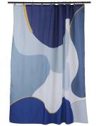 Штора для ванной синего цвета с авторским принтом из коллекции Strange Fruit Tkano