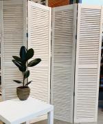 Ширма деревянная жалюзийная 180*40 см, Белая - 3 створки, Белая, Производитель: Декор