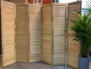 Ширма деревянная жалюзийная 180*40 см, натуральное дерево (без окраса) - 6 створок, Натуральное дерево, без окраски