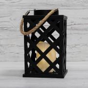 Декоративный фонарь на солнечной батарее 14х14х24 см, черный плетеный корпус, теплый белый цвет свечения NEON-NIGHT