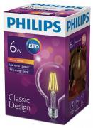 "Лампа светодиодная ""Philips"", филаментная, цоколь E27, 6W, 2700К"