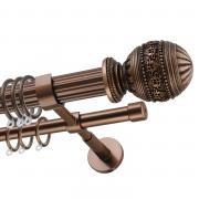 Декоративный карниз для штор Рафаэлло, двухрядный 33/19 мм, коричневый, длина 160 см