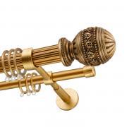 Декоративный карниз для штор Рафаэлло, двухрядный 33/19 мм, золото антик, длина 160 см